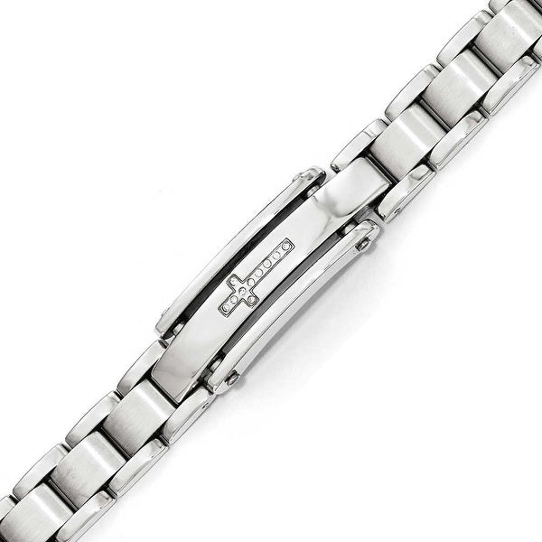 Chisel Stainless Steel Polished & Brushed CZ Cross ID Bracelet