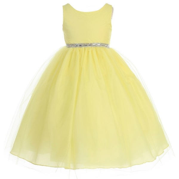 Flower girl dress rhinestone waist band tulle bottom yellow ca 754 flower girl dress rhinestone waist band tulle bottom yellow ca 754 mightylinksfo
