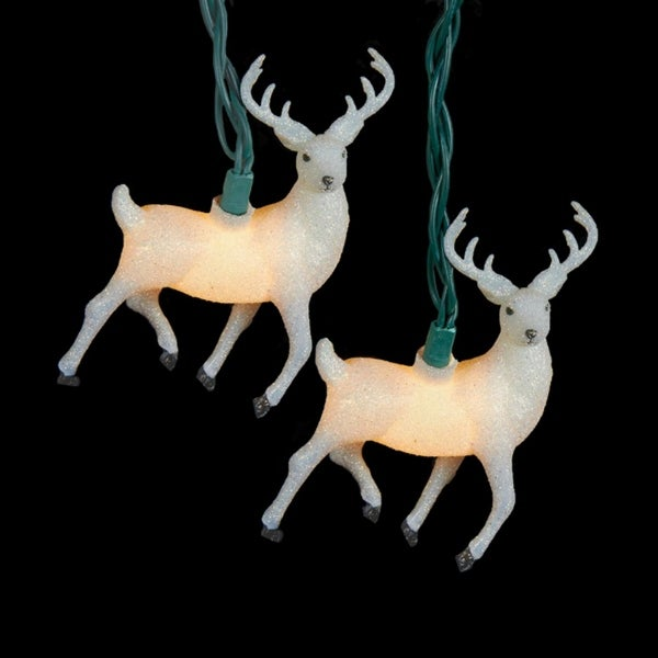 Set of 10 Winter Light White Glittered Reindeer Novelty Christmas Lights - Green Wire