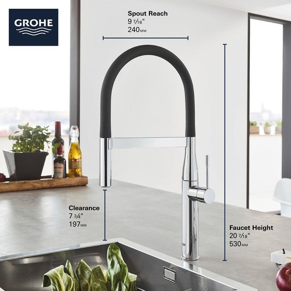 Grohe 30 295 Essence 1.75 GPM Single Hole Pull Out Kitchen Faucet with