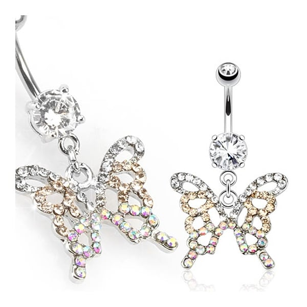 Gradient Gemmed Butterfly Navel Belly Button Ring 316L Surgical Steel (Sold Ind.)