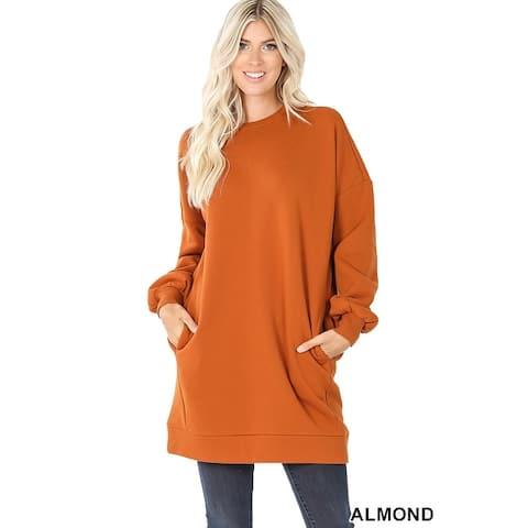 JED Women's Oversized Crewneck Tunic Pull-Over Sweatshirt