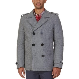 Nautica Mens Pea Coat Wool-Blend Puffed