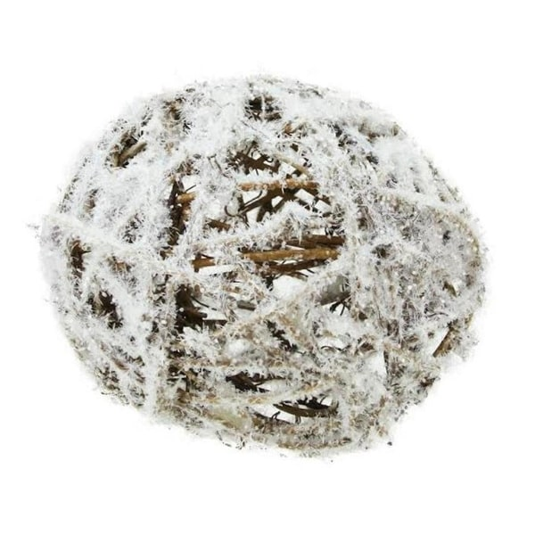 """4"""" Country Cabin Frosted White and Brown Twig Weave Ball Christmas Ornament"""