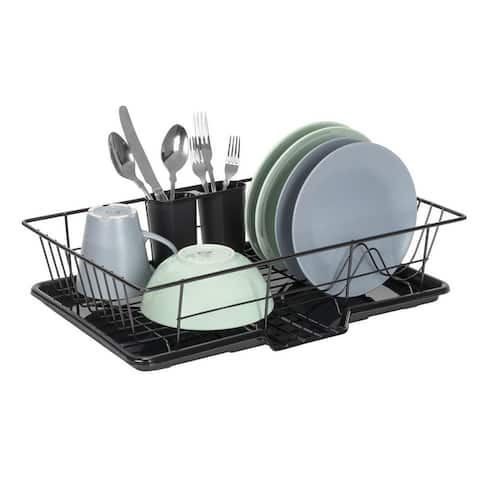 Premius 3-Piece Dish Drainer With Cutlery Holder, 19x12x5 Inches - 19x12x5 Inches