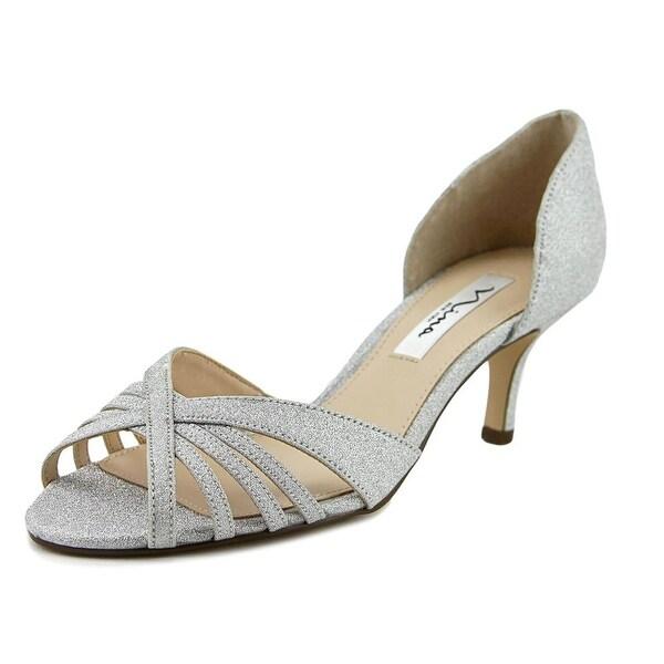 Nina Coella Women Open-Toe Canvas Silver Heels