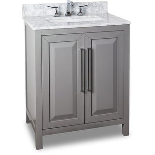 Jeffrey Alexander VAN100-30-T 30 Inch Single Free Standing Vanity Set with Hardwood Cabinet, Marble Top, and Rectangular