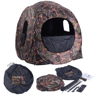 Costway Portable Hunting Blind Pop Up Ground Camo Weather Resistant Hunting Enclosure - as pic