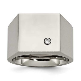 Chisel Titanium Polished CZ Signet Ring