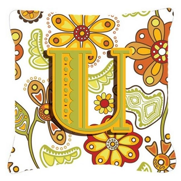 Shop Letter U Floral Mustard And Green Canvas Fabric Decorative