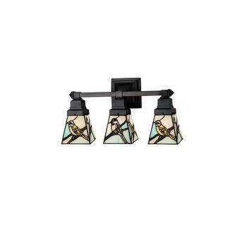 """Meyda Tiffany 98392 Backyard Friends 3-Light 20"""" Wide Bathroom Vanity Light with Tiffany Glass Shade - Mahogany Bronze"""