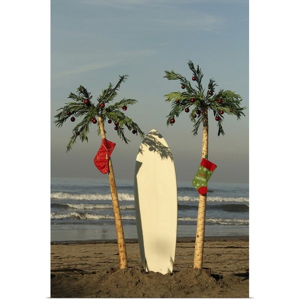 """Surfboard and palm trees at Christmas"" Poster Print"