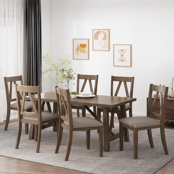 Fairgreens Farmhouse Wood 7 Piece Dining Set by Christopher Knight Home. Opens flyout.