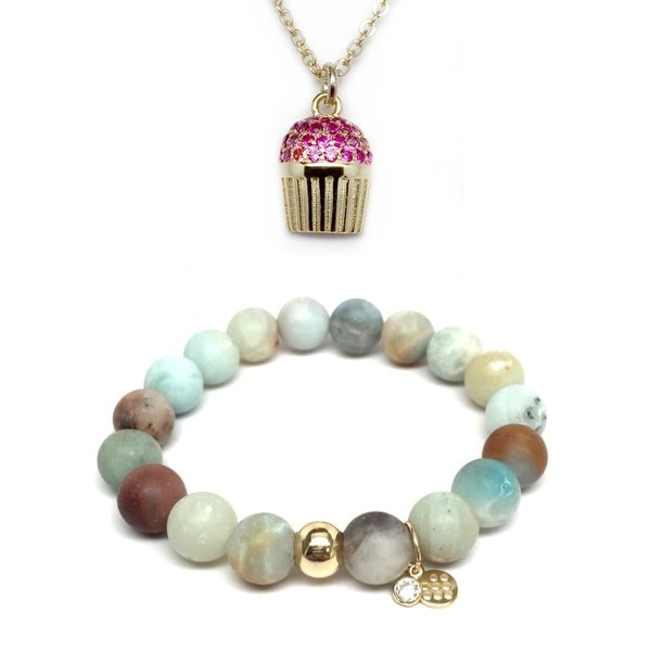 "Green Amazonite 7"" Bracelet & Pink CZ Cupcake Gold Charm Necklace Set"