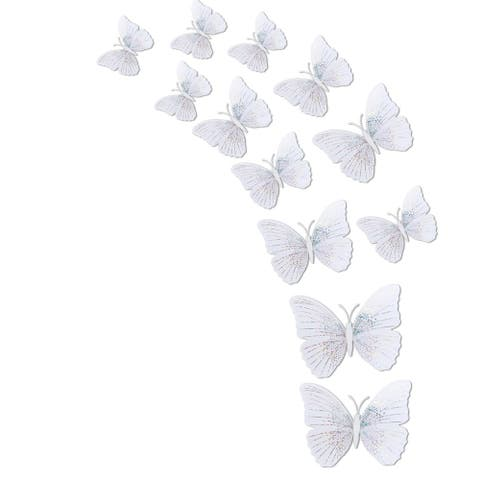 12pcs 3D Butterfly Wall Decal DIY Sticker for Christmas Decor, - Silver Tone
