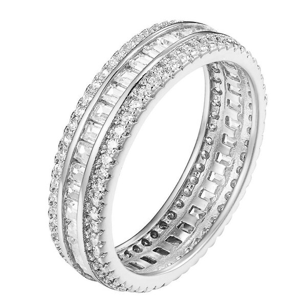 925 Sterling Silver Princess Cut Wedding Eternity Ring Band SZ 6 7 8 Channel Set