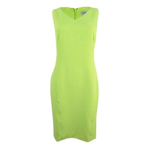 Kasper Women's V-Neck Sheath Dress - Honeydew