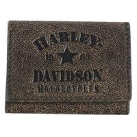 """Harley-Davidson Men's Burnished Military Tri-Fold Leather Wallet BM6150L-TANBLK - 4.25"""" x 3.25"""""""