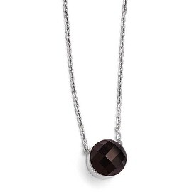 Chisel Stainless Steel Polished Dark Brown Glass with 1 inch Extension Necklace (1 mm) - 18 in