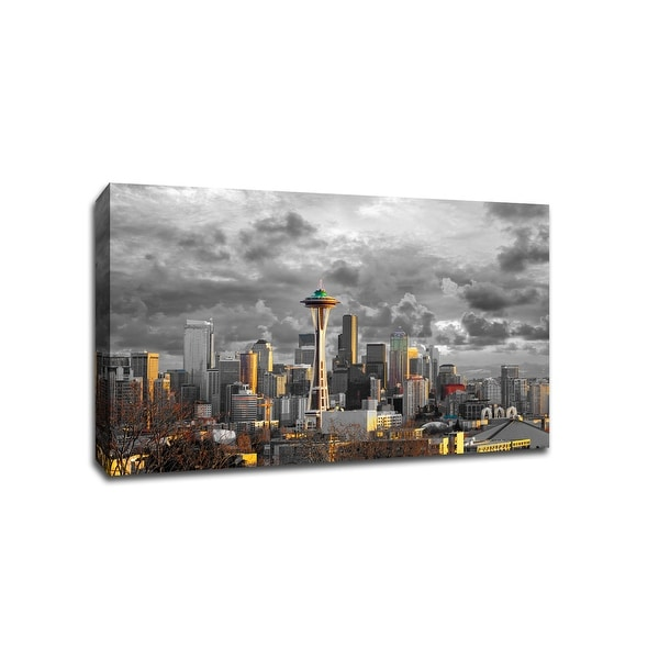 Seattle - Touch of Color Skylines - 36x24 Gallery Wrapped Canvas Wall Art ToC