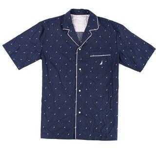 Nautica Blue Mens Medium M Sail Boat Print Sleepwear Pajama Shirt