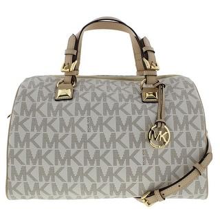 MICHAEL Michael Kors Womens Grayson Faux Leather Convertible Satchel Handbag - Large