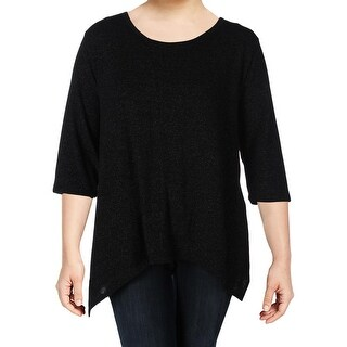 Nally & Millie Womens Casual Top Textured Asymmetric