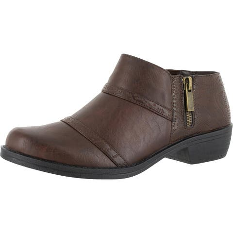 Easy Street Womens Shooties Faux Leather Stacked - Brown