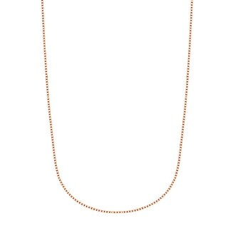 Mcs Jewelry Inc 14 KARAT ROSE GOLD BOX CHAIN NECKLACE 0 7mm THIN AND STRONG