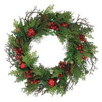 """24"""" Rustic Red Jingle Bell, Berry and Pine Cone Artificial Christmas Wreath"""