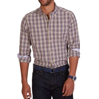 Nautica NEW Purple Mens Size Medium M Plaid Print Button Down Shirt