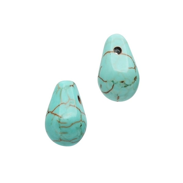Dyed Magnesite Gemstone Beads, Smooth Drops 5x9mm, 10 Pieces, Turquoise