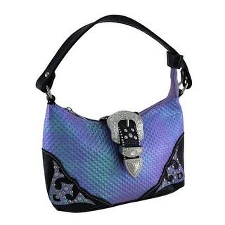 Rhinestone Buckle Iridescent Diamond Textured Metallic Trim Handbag