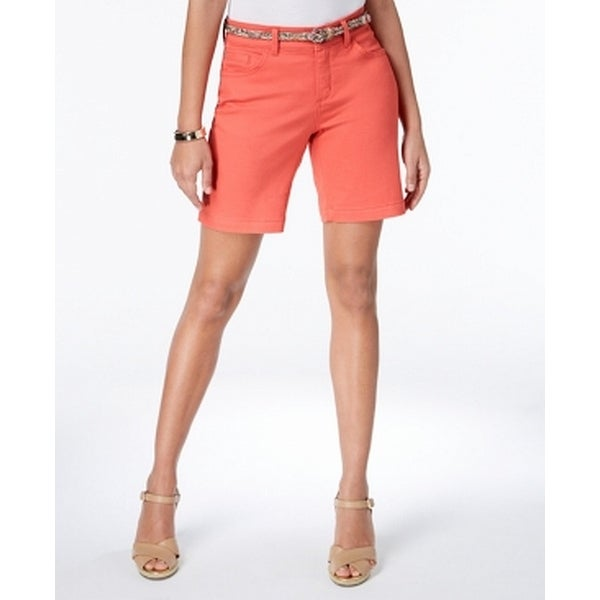 Lee Pimento Orange Womens Size 2 Mid-Rise Belted Bermuda Shorts