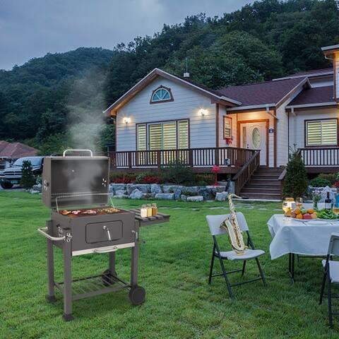 ZOKOP Black Steel Portable Backyard Charcoal BBQ Grill