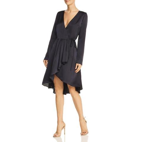 Joie Womens Wrap Dress Hi-Low Surplice Neck - Midnight