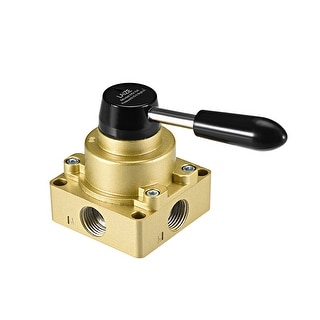 "Rotary Lever Hand Valve, HV-04 1/2"" G Female 3 Position 4 Ways Air Flow Control"