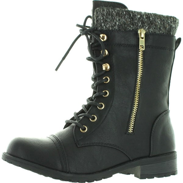 bb63b93e327 Shop Forever Link Womens Mango-31 Round Toe Military Lace Up Knitted Ankle  Cuff Low Heel Combat Boots - Free Shipping On Orders Over  45 - Overstock -  ...