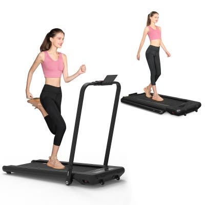 2 in 1 Folding Treadmill with Bluetooth Speakers for Home/Office