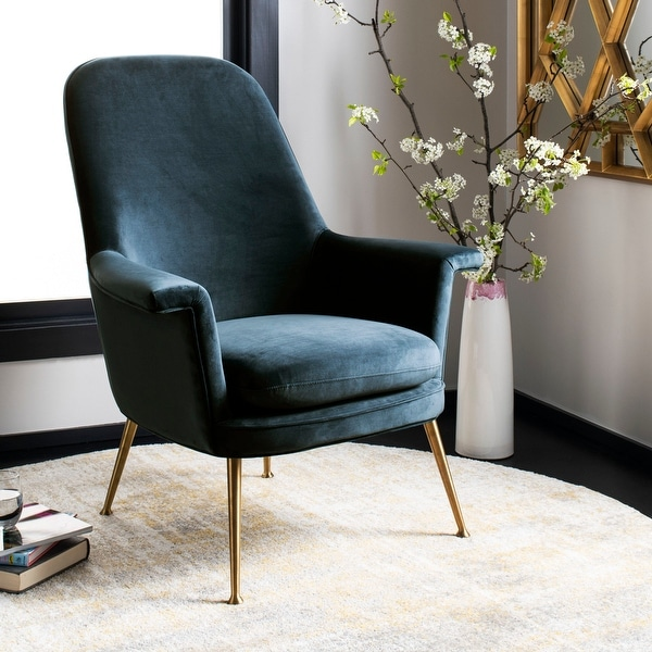 """Safavieh Couture Aimee Velvet Arm Chair- Navy / Gold - 33.5"""" W x 31.7"""" L x 40.9"""" H - 33.5""""x31.7""""x40.9"""". Opens flyout."""