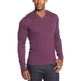 Sean John Textured V-Neck Sweater XX-Large Plum Perfect Purple Solid - 2XL