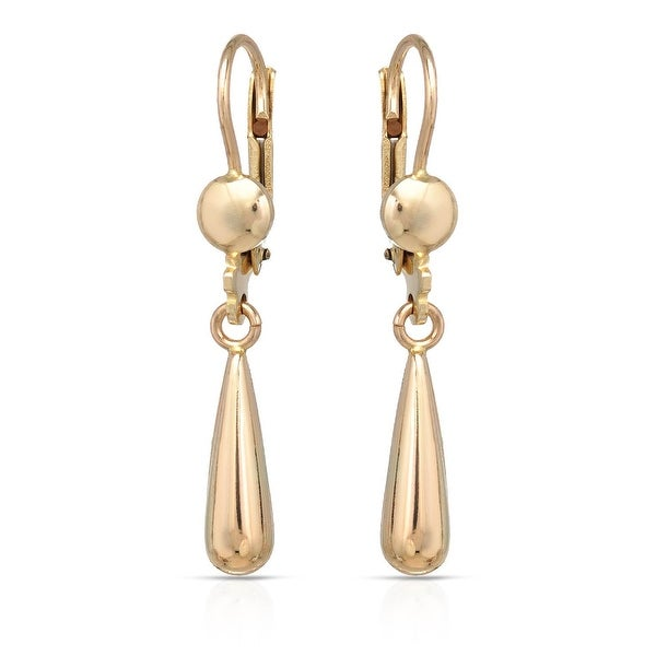 Mcs Jewelry Inc 10 KARAT YELLOW GOLD DANGLING DROP LEVERBACK EARRINGS (1.3 INCHES)
