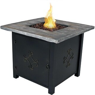 Sunnydaze 30-Inch Square Propane Gas Fire Pit Table with Lava Rocks