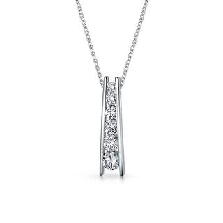Bling Jewelry Graduated CZ Love Journey Bar Pendant Necklace .925 Sterling 18 Inches