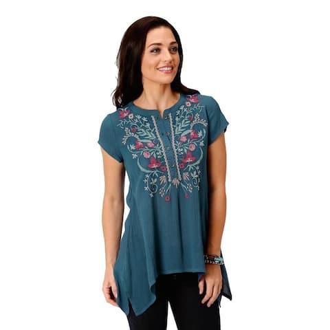 Roper Western Shirt Women S/S Peasant Tunic Blue - L