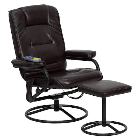 Massaging Multi-Position Recliner &Ottoman w/Metal Bases in Brown LeatherSoft
