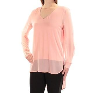 JOAN VASS $78 Womens New 1108 Pink V Neck Long Sleeve Hi-Lo Top M B+B