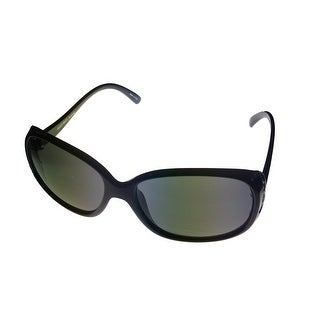 Ellen Tracy Womens Sunglass 548 2 Black Rectangle Plastic, Solid Smoke Lens - Medium