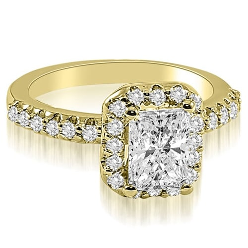 1.42 cttw. 14K Yellow Gold Emerald Cut Halo Diamond Engagement Ring