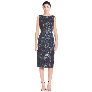 Theia Floral Lace Sleeveless Sheath Cocktail Dress - 4